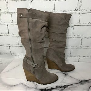 Bakers Bradford Taupe Suede Knee High Wedge Boots